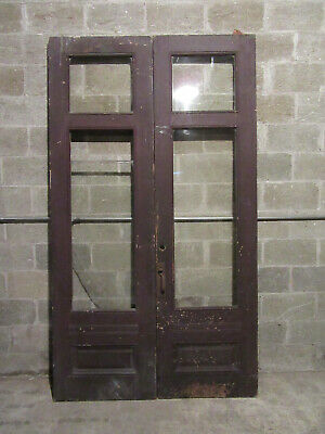~ Antique Double Entrance French Doors  ~ 54 X 94.5 ~ Storefront ~ Salvage ~