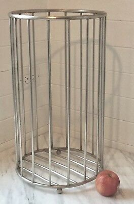 Antique Victorian Nickel Brass bar Soiled TOWEL BASKET JL Mott bath barbershop
