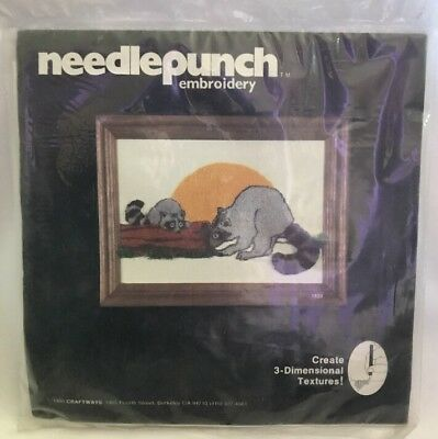 Paragon Needle Punch Embroidery Kit Raccoon Craftway #1820