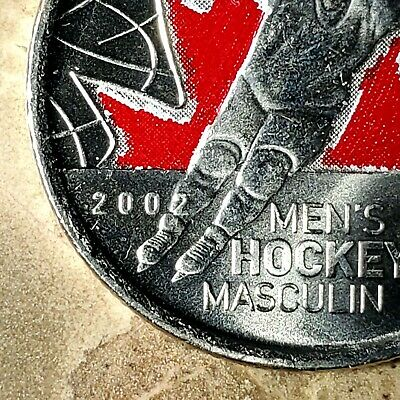 2009 Canada Men's Hockey Colourized *Raised 2* 25 Cents *Rare* UNC BU!!