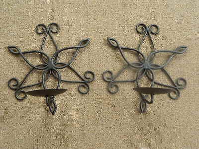 Pair Brown Wrought Iron Metal Floral Wall Sconces Hanging Pillar Candle Holders