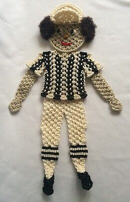 Macrame Completed Wall Hanging Baseball Player Finished 23""
