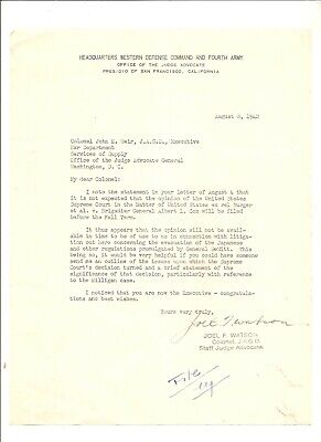 1942 letter Headquarters Western Command to JAG, Washington D.C.
