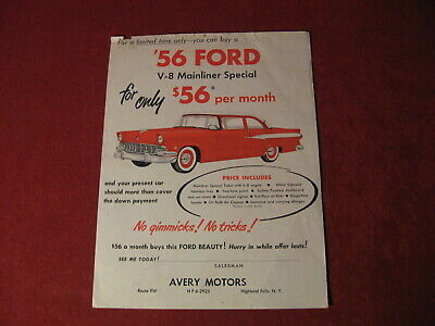 1956 Ford Dealership Mailers Salesman Showroom Catalog Original Brochure Old