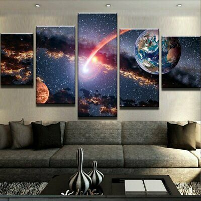 5 Panel Abstract Earth Moon & Space Modern Decor Canvas Wall Art HD Print