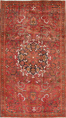 One-of-Kind Vintage Geometric Heriz Persian Oriental Hand-Knotted 6x10 Area Rug