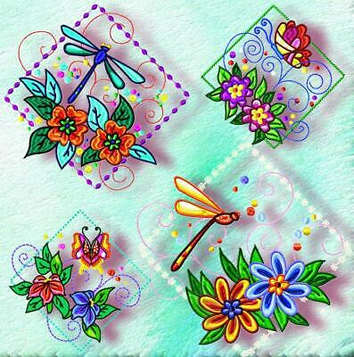 DRAGONFLY BLOCKS 1 10 MACHINE EMBROIDERY DESIGNS CD or USB