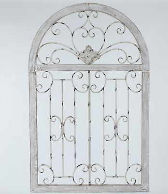 "Cottage Shabby Wall Decor Rustic Wood Metal 46"" French Garden Gate Vintage Style"