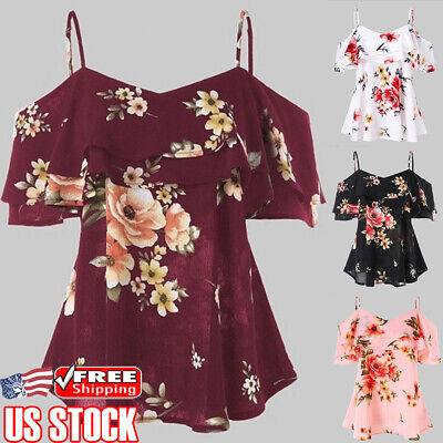 Sexy Women V Neck Floral Tops Tee Summer Beach Blouse Sling Off Shoulder T Shirt