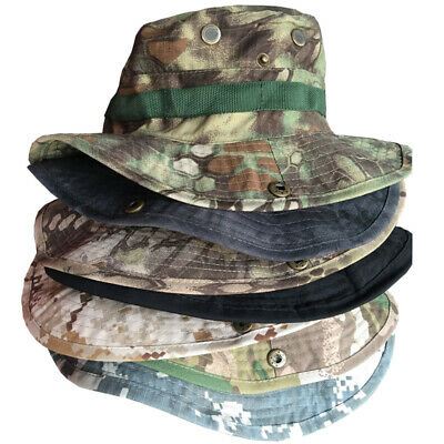 Men Outdoor Military Combat Boonie Hat Cap Camping Fishing Hiking Sun Protective
