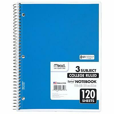 MEAD SPIRAL NOTEBOOK, 3 Subject, College Ruled, 8 x 11 Inch, 120 Sheets