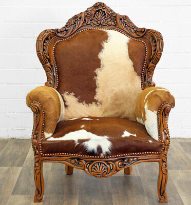 MAHAGONI KUHFELL SESSEL braun-weiß TEXAS CLASSIC EDITION BAROCK SESSEL COW CHAIR