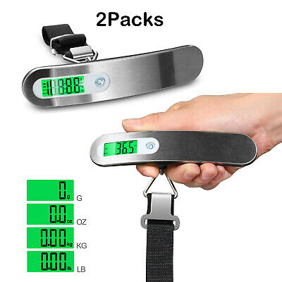 2X 110lb/50kg Digital Suitcase Luggage Scale Portable Travel Tare Hanging Weight