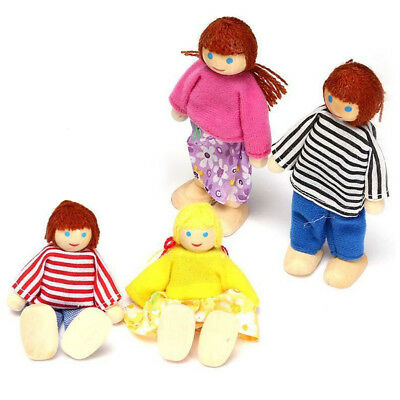 Wooden Dolls House Furniture Miniature 4 Doll For Kids Children Toy Gifts Hot AY