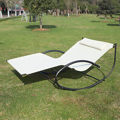 Outsunny Double Hammock Chair Sun Lounger Outdoor Patio Garden Swing Rock Seat