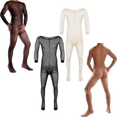 Sissy Mens Full Body Pantyhose Lingerie See-through Ultra-thin Stocking Jumpsuit