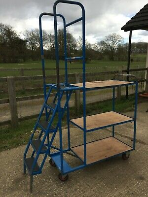 "3 shelved picking trolley on wheels with step ladder (top step height 43"")"