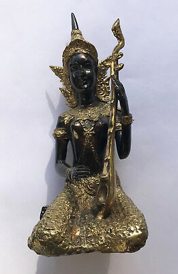 Antique Statue Thai Bronze Buddha Gold Musician Goddess Female Figure Buddhism