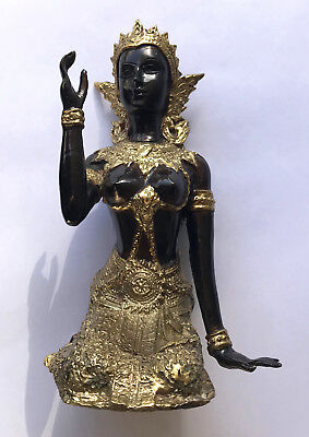Antique Statue Thai Bronze Goddess Gold Buddha Figurine Female Thailand Buddhism