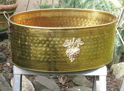 Vintage Large Solid Brass OVAL Planter Pot with Grape Vine Fittings Handles