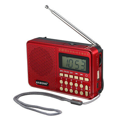 Mini Portable Radio LCD Digital AM FM SW Speaker USB TF MP3 Player Rechargeable
