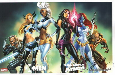 J Scott Campbell SIGNED X-Men Art Print ~ Wolverine Mystique Psylocke Storm