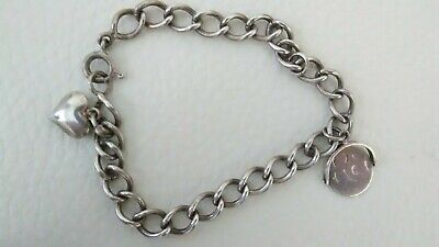 Vintage Sterling Silver Curb Chain Middle Eastern ARABIC Charm Bracelet