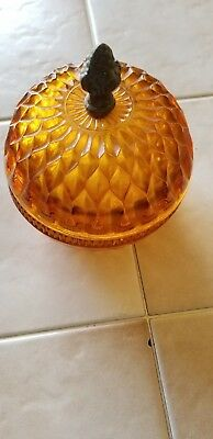 Vintage Amber Indiana Glass Covered Candy / Trinket Dish Metal Acorn Handle