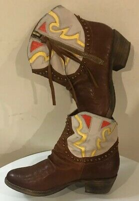 1761ff9d4474 SAM EDELMAN brown leather western cowboy boots sz. 8 M Great Condition