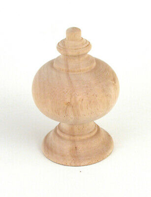 "Camelot Wood Finial for 2"" Drapery Rod Unfinished (Mounting Screw Installed)"