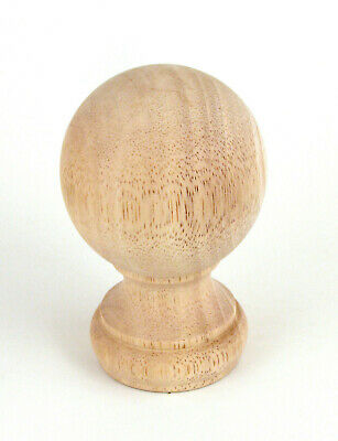 "Wood Ball Finial for 2"" Drapery Rod Unfinished (Mounting Screw Installed)"