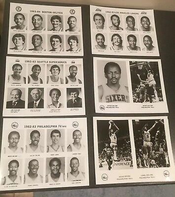 LOT of 6 Vintage early 1980's NBA Press Photos 76'ers,Lakers Dr. J Kareem & more