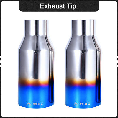 """Exhaust Double Layer Straight Tip Blue Burnt 2.5"""" In 4""""Out 9"""" Polished Stainless"""