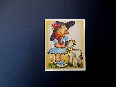 #L163- Vintage Unused 1944 Ars Sacra Greeting Card Girl Feeding Little Lamb