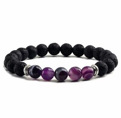 Purple Agate Lava Bead Aromatherapy Essential Oil Diffuser Stretch Yoga Bracelet