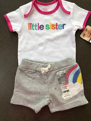d5fb593a7 Girls Little Sister Rainbow Outfit 6 Months Bodysuit Shorts NEW NWT Carter's