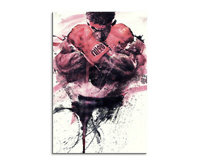 Street Fighter 90x60cm  Aquarell Art Leinwandbild