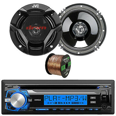 "Single DIN Digital Media Receiver, 2x JVC 300-Watt Peak 6.5"" 2-Way Speakers,Wire"
