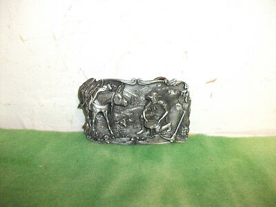 1981  Limited Edition  Striking it Rich Gold Panning Pewter Belt Buckle RO