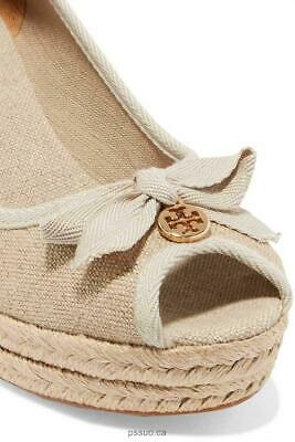 4ff0bdad45a 8.5 TORY BURCH Jackie Espadrille Wedge Heel Peep Toe Shoes - Gold ...