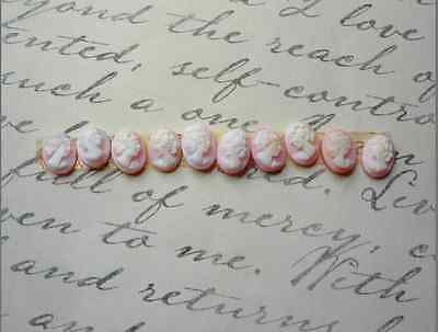 Antique Cameo Pink Conch Cabochon 6mm x 8mm QTY10, Natural Carved Shell Italy