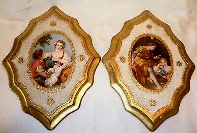 PAIR Vintage ITALIAN FLORENTINE Wood WALL PLAQUES Courting Couple EMPIRE Italy
