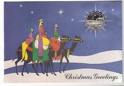 1990 IOM Fifty Pence SS LINER ,Proof Coin  Christmas Card ,RARE  card  COA