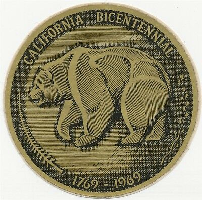 California Grizzly Bear State Animal 1769-1969 Unused Bicentennial Sticker Decal