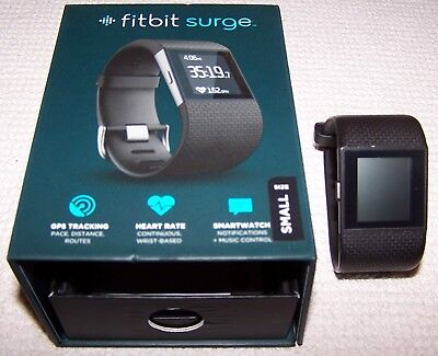 Fitbit SURGE Fitness SmartWatch With Heart Rate Monitor BLACK Small ~ Pre-Owned