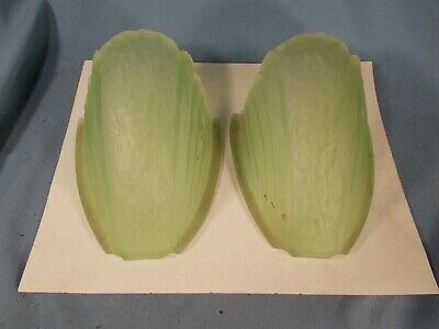 Pair ART DECO GREEN Vaseline GLASS SLIP SHADES for Fixture or Sconce c1930s