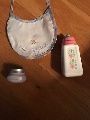 American Girl Doll Bitty Baby Bib, Bottle And A Jar Of Food New