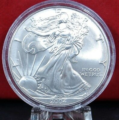 2004 Silver American Eagle BU 1 oz US $1 Dollar Uncirculated Brilliant Capsule