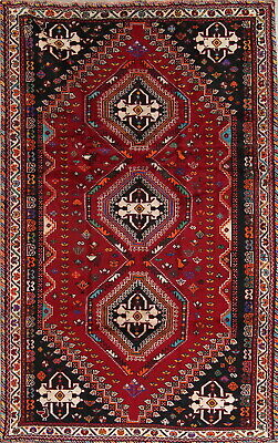 One-of-a-Kind Tribal Qashqai Vintage Persian Hand-Knotted 6' x 9' Wool Red Rug