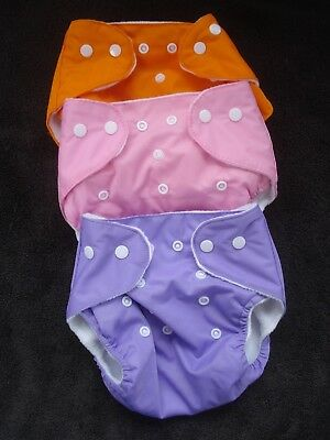 Qianquhui Cloth Diaper Covers Lot of Three Pink Orange Purple NWOT